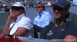 Rafael Nadal coaches Uncle Toni and Carlos Moya at Madrid Open SF 2017
