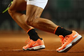 Detail shot of the shoes of Rafael Nadal of Spain during the men's third round match against Jack Sock of USA on Day Five of the Internazionali BNL d'Italia 2017 at the Foro Italico on May 18, 2017 in Rome, Italy. (May 17, 2017 - Source: Michael Steele/Getty Images Europe)