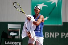 27/05/2017. Rafael Nadal of Spain attends a training session. REUTERS/Benoit Tessier