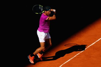 Rafael Nadal of Spain in action during his match against Fabio Fognini of Italy on day five of the Mutua Madrid Open tennis at La Caja Magica on May 10, 2017 in Madrid, Spain. (May 9, 2017 - Source: Clive Rose/Getty Images Europe)