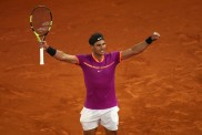 Rafael Nadal of Spain celebrates defeating David Goffin of Belgium during day seven of the Mutua Madrid Open tennis at La Caja Magica on May 12, 2017 in Madrid, Spain. (May 11, 2017 - Source: Julian Finney/Getty Images Europe)