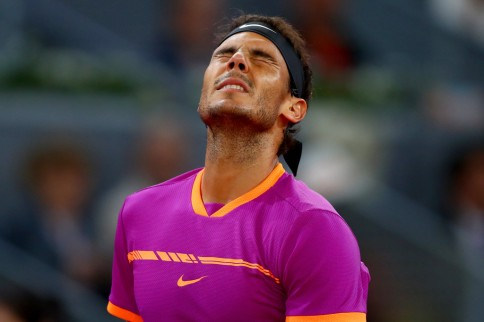 Rafael Nadal of Spain reacts in his match against David Goffin of Belguim during day six of the Mutua Madrid Open tennis at La Caja Magica on May 12, 2017 in Madrid, Spain (May 11, 2017 - Source: Clive Rose/Getty Images Europe)