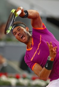 Rafael Nadal of Spain in action during his match against David Goffin of Belguim during day six of the Mutua Madrid Open tennis at La Caja Magica on May 12, 2017 in Madrid, Spain (May 11, 2017 - Source: Clive Rose/Getty Images Europe)