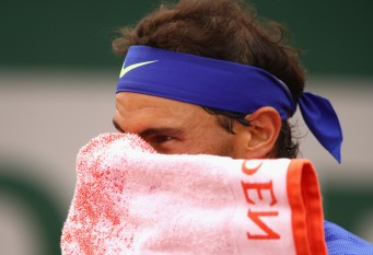 Rafael Nadal of Spain looks on during the mens singles first round match against Benoit Paire of France on day two of the 2017 French Open at Roland Garros on May 29, 2017 in Paris, France. (May 28, 2017 - Source: Clive Brunskill/Getty Images Europe)