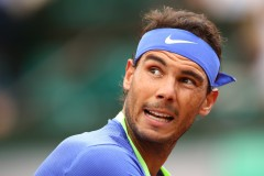 Rafael Nadal of Spain looks on during the men's singles third round match against Nikoloz Basilashvili of Georgia on day six of the 2017 French Open at Roland Garros on June 2, 2017 in Paris, France. (June 1, 2017 - Source: Clive Brunskill/Getty Images Europe)