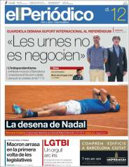 Newspaper front pages cover Rafael Nadal victory at Roland Garros 2017 front page (1)