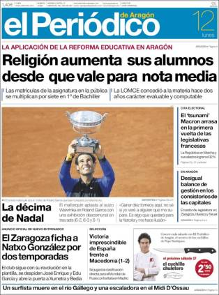 Newspaper front pages cover Rafael Nadal victory at Roland Garros 2017 front page (3)