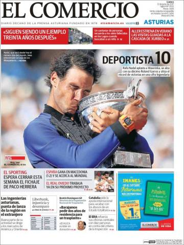 Newspaper front pages cover Rafael Nadal victory at Roland Garros 2017 front page (4)