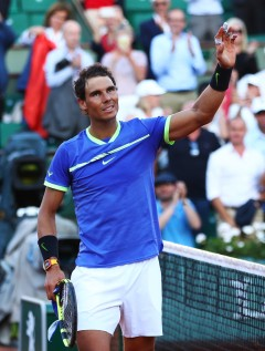 Rafael Nadal of Spain celebrates victory during the men's singles semi final match against Dominic Thiem of Austria on day thirteen of the 2017 French Open at Roland Garros on June 9, 2017 in Paris, France. (June 8, 2017 - Source: Clive Brunskill/Getty Images Europe)