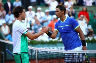 Rafael Nadal (R) of Spain shakes hands with Dominic Thiem of Austria following his victory during their men's singles semi final match on day thirteen of the 2017 French Open at Roland Garros on June 9, 2017 in Paris, France. (June 8, 2017 - Source: Clive Brunskill/Getty Images Europe)