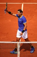 Rafael Nadal of Spain celebrates victory during the mens singles fourth round match against Roberto Bautista Agut of Spain on day eight of the 2017 French Open at Roland Garros on June 4, 2017 in Paris, France. (June 3, 2017 - Source: Clive Brunskill/Getty Images Europe)