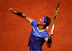 Rafael Nadal of Spain serves during the mens singles fourth round match against Roberto Bautista Agut of Spain on day eight of the 2017 French Open at Roland Garros on June 4, 2017 in Paris, France. (June 3, 2017 - Source: Clive Brunskill/Getty Images Europe)