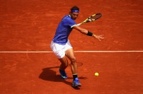 Rafael Nadal of Spain plays a forehand during the mens singles fourth round match against Roberto Bautista Agut of Spain on day eight of the 2017 French Open at Roland Garros on June 4, 2017 in Paris, France. (June 3, 2017 - Source: Clive Brunskill/Getty Images Europe)