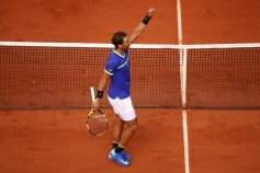 Rafael Nadal of Spain celebrates victory during the men's singles third round match against Nikoloz Basilashvili of Georgia on day six of the 2017 French Open at Roland Garros on June 2, 2017 in Paris, France. (June 1, 2017 - Source: Clive Brunskill/Getty Images Europe)