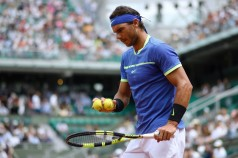 Spain's Rafael Nadal prepares to serve to Georgia's Nikoloz Basilashvili during their tennis match at the Roland Garros 2017 French Open on June 2, 2017 in Paris. / AFP PHOTO / Lionel Bonaventure (June 1, 2017 - Source: AFP)