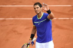 Spain's Rafael Nadal celebrates after winning against Georgia's Nikoloz Basilashvili during their tennis match at the Roland Garros 2017 French Open on June 2, 2017 in Paris. / AFP PHOTO / Lionel BONAVENTURE (June 1, 2017 - Source: AFP)