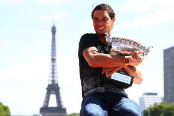 Rafael Nadal of Spain poses during a photocall to celebrate his record breaking 10th French Open title at Quai de Grenelle on June 12, 2017 in Paris, France. (June 11, 2017 - Source: Julian Finney/Getty Images Europe)