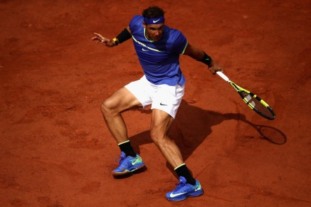 Rafael Nadal of Spain in action during mens singles quarter finals match against Pablo Carreno Busta of Spain on day eleven of the 2017 French Open at Roland Garros on June 7, 2017 in Paris, France. (June 6, 2017 - Source: Julian Finney/Getty Images Europe)