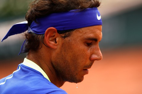 Rafael Nadal of Spain looks on during mens singles quarter finals match against Pablo Carreno Busta of Spain on day eleven of the 2017 French Open at Roland Garros on June 7, 2017 in Paris, France. (June 6, 2017 - Source: Adam Pretty/Getty Images Europe)