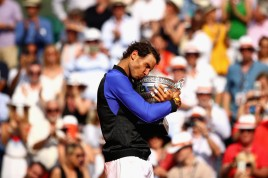 Rafael Nadal of Spain celebrates victory with the trophy following the mens singles final against Stan Wawrinka of Switzerland on day fifteen of the 2017 French Open at Roland Garros on June 11, 2017 in Paris, France. (June 10, 2017 - Source: Clive Brunskill/Getty Images Europe)