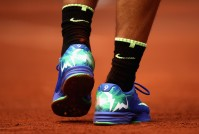 A detailed view of Rafael Nadals trainers during the mens singles final match against Stan Wawrinka of Switzerland on day fifteen of the 2017 French Open at Roland Garros on June 11, 2017 in Paris, France. (June 10, 2017 - Source: Julian Finney/Getty Images Europe)