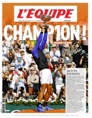 Rafael Nadal on the cover of Lequipe