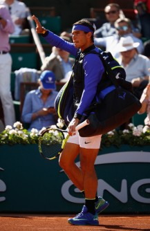 Rafael Nadal of Spain enters the court prior to his mens singles semi-final match against Dominic Thiem of Austria on day thirteen of the 2017 French Open at Roland Garros on June 9, 2017 in Paris, France. (June 8, 2017 - Source: Adam Pretty/Getty Images Europe)