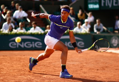 Rafael Nadal of Spain plays a forehand during the mens singles semi-final match against Dominic Thiem of Austria on day thirteen of the 2017 French Open at Roland Garros on June 9, 2017 in Paris, France. (June 8, 2017 - Source: Adam Pretty/Getty Images Europe)