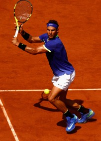 Rafael Nadal of Spain plays a forehand during the mens singles final match against Stan Wawrinka of Switzerland on day fifteen of the 2017 French Open at Roland Garros on June 11, 2017 in Paris, France. (June 10, 2017 - Source: Adam Pretty/Getty Images Europe)