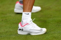 A general view of Rafael Nadal's personalised trainers during a preview day at the The All England Lawn Tennis and Croquet Club, London. (Photo by Adam Davy/PA Images via Getty Images)