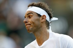 Spain's Rafael Nadal reacts against US player Donald Young during their men's singles second round match on the third day of the 2017 Wimbledon Championships at The All England Lawn Tennis Club in Wimbledon, southwest London, on July 5, 2017. / AFP PHOTO / Adrian DENNIS / RESTRICTED TO EDITORIAL USE (July 4, 2017 - Source: AFP)