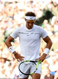 Rafael Nadal of Spain reacts during the Gentlemen's Singles fourth round match against Gilles Muller of Luxembourg on day seven of the Wimbledon Lawn Tennis Championships at the All England Lawn Tennis and Croquet Club on July 10, 2017 in London, England. (July 9, 2017 - Source: David Ramos/Getty Images Europe)