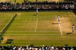 Rafael Nadal of Spain serves during training session on day seven of the Wimbledon Lawn Tennis Championships at the All England Lawn Tennis and Croquet Club on July 10, 2017 in London, England. (July 9, 2017 - Source: David Ramos/Getty Images Europe)