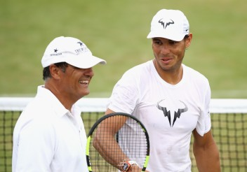 Rafael Nadal of Spain in a training session with coach and uncle Toni Nadal at Wimbledon on July 9, 2017 in London, England. (July 8, 2017 - Source: Julian Finney/Getty Images Europe)