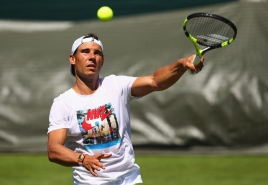LONDON, ENGLAND - JULY 02: Rafael Nadal of Spain in action during a practice session ahead of the Wimbledon Lawn Tennis Championships at the All England Lawn Tennis and Croquet Club on July 2, 2017 in London, England. (Photo by Clive Brunskill/Getty Images)