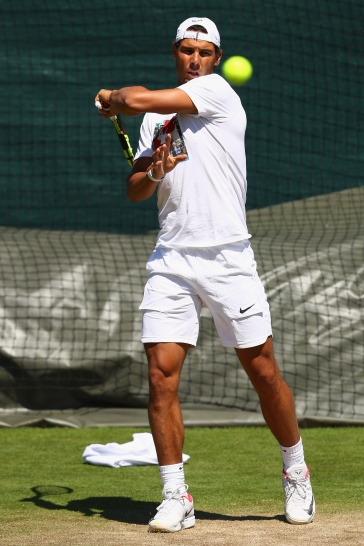 LONDON, ENGLAND - JULY 02: Rafael Nadal of Spain during a practise session at Wimbledon on July 2, 2017 in London, England. (Photo by Michael Steele/Getty Images)