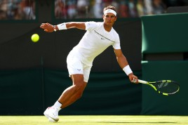 Rafael Nadal of Spain plays a forehand during the Gentlemen's Singles first round match on day one of the Wimbledon Lawn Tennis Championships at the All England Lawn Tennis and Croquet Club on July 3, 2017 in London, England. (July 2, 2017 - Source: Michael Steele/Getty Images Europe)