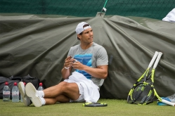 Rafael Nadal (ESP) during practice on the Aorangi Practice Courts. The Championships 2017 at The All England Lawn Tennis Club, Wimbledon. Day 2 Tuesday 04/07/2017. Credit: AELTC/Dave Shopland.