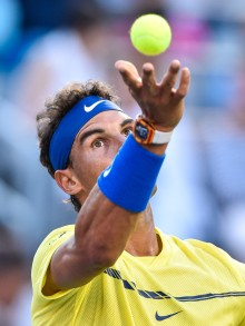 Rafael Nadal of Spain serves against Borna Coric of Croatia during day six of the Rogers Cup presented by National Bank at Uniprix Stadium on August 9, 2017 in Montreal, Quebec, Canada. (Aug. 8, 2017 - Source: Minas Panagiotakis/Getty Images North America)