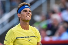Rafael Nadal of Spain reacts after losing a point against Borna Coric of Croatia during day six of the Rogers Cup presented by National Bank at Uniprix Stadium on August 9, 2017 in Montreal, Quebec, Canada. (Aug. 8, 2017 - Source: Minas Panagiotakis/Getty Images North America)