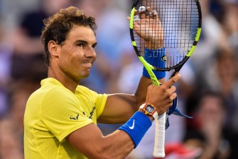 Rafael Nadal of Spain celebrates his victory over Borna Coric of Croatia during day six of the Rogers Cup presented by National Bank at Uniprix Stadium on August 9, 2017 in Montreal, Quebec, Canada. Nadal defeated Coric 6-1, 6-2. (Aug. 8, 2017 - Source: Minas Panagiotakis/Getty Images North America)