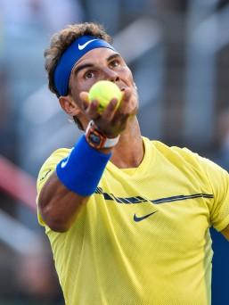 Rafael Nadal of Spain prepares to serve against Borna Coric of Croatia during day six of the Rogers Cup presented by National Bank at Uniprix Stadium on August 9, 2017 in Montreal, Quebec, Canada. (Aug. 8, 2017 - Source: Minas Panagiotakis/Getty Images North America)