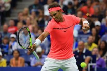 Rafael Nadal of Spain reacts to a set point against Dusan Lajovic of Serbia in their first round Men's Singles match on Day Two during the 2017 US Open at the USTA Billie Jean King National Tennis Center on August 29, 2017 in the Queens borough of New York City. (Aug. 28, 2017 - Source: Chris Trotman/Getty Images North America)