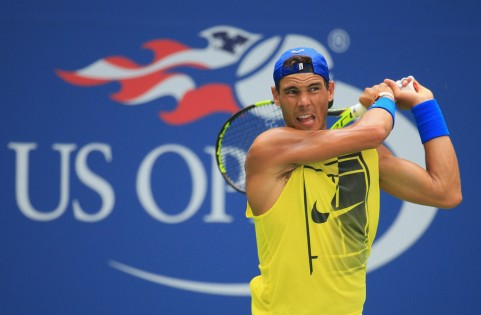 Rafael Nadal of Spain returns a shot while practicing prior to the start of the 2017 US Open at the USTA Billie Jean King National Tennis Center on August 27, 2017 in the Queens borough of New York City. (Aug. 26, 2017 - Source: Chris Trotman/Getty Images North America)