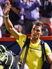 Rafael Nadal of Spain thanks the fans after his loss to Denis Shapovalov of Canada during day seven of the Rogers Cup presented by National Bank at Uniprix Stadium on August 10, 2017 in Montreal, Quebec, Canada. Denis Shapovalov of Canada defeated Rafael Nadal of Spain 6-3, 4-6, 6-7. (Aug. 9, 2017 - Source: Minas Panagiotakis/Getty Images North America)