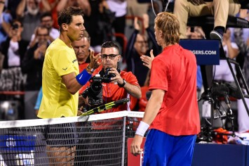 Rafael Nadal of Spain congratulates Denis Shapovalov of Canada for his victory during day seven of the Rogers Cup presented by National Bank at Uniprix Stadium on August 10, 2017 in Montreal, Quebec, Canada. Denis Shapovalov of Canada defeated Rafael Nadal of Spain 6-3, 4-6, 6-7. (Aug. 9, 2017 - Source: Minas Panagiotakis/Getty Images North America)
