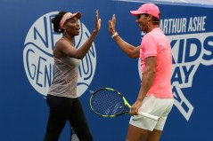 August 26, 2017 - Rafael Nadal celebrates with Venus Williams during Arthur Ashe Kids' Day at the 2017 US Open.