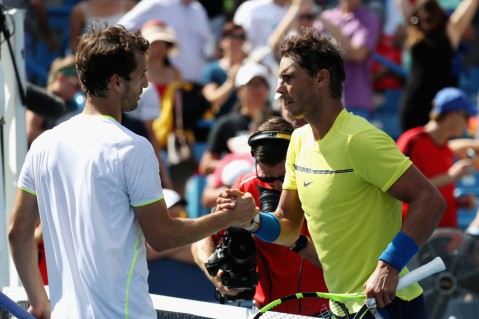 Rafael Nadal of Spain (R) shakes hands with Albert Ramos-Vinolas of Spain after defeating him during Day 7 of the Western and Southern Open at the Linder Family Tennis Center on August 18, 2017 in Mason, Ohio. (Aug. 17, 2017 - Source: Rob Carr/Getty Images North America)