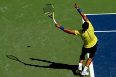 Rafael Nadal of Spain serves to Albert Ramos-Vinolas of Spain during day 7 of the Western & Southern Open at the Lindner Family Tennis Center on August 18, 2017 in Mason, Ohio. (Aug. 17, 2017 - Source: Matthew Stockman/Getty Images North America)