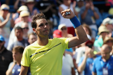 Rafael Nadal of Spain celebrates after defeating Albert Ramos-Vinolas of Spain during Day 7 of the Western and Southern Open at the Linder Family Tennis Center on August 18, 2017 in Mason, Ohio. (Aug. 17, 2017 - Source: Rob Carr/Getty Images North America)